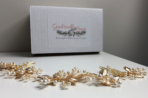 Gold Leaf & Pearl Chain Headband | Detailed Gold Leaf & Pearl Hair Chain Jewelry