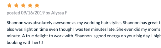 Alyssa Left a Beautiful Review on The Knot