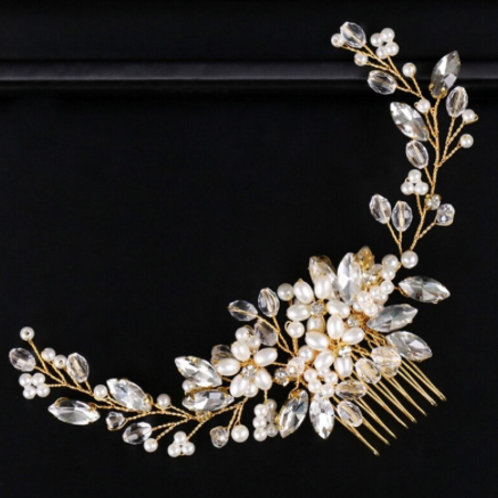 Gold, Rhinestone, & Pearl Hair Comb | Gold, Rhinestone, & Pearl Hair Jewelry