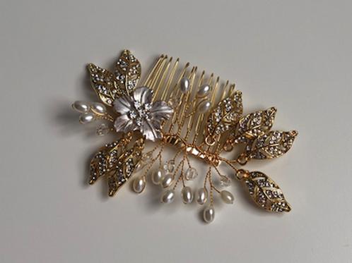 Gold Leaf & Flower, Rhinestone, & Crystal Hair Comb | Gold, Rhinestone, Pearl
