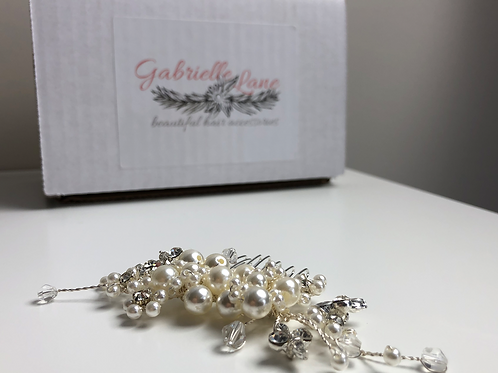 Silver, Pearl & Crystal Hair Comb | Wedding Hair Jewelry