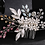 Thumbnail: Silver & Pink Flower, Rhinestone, & Crystal Hair Comb | Silver Bridal Jewelry