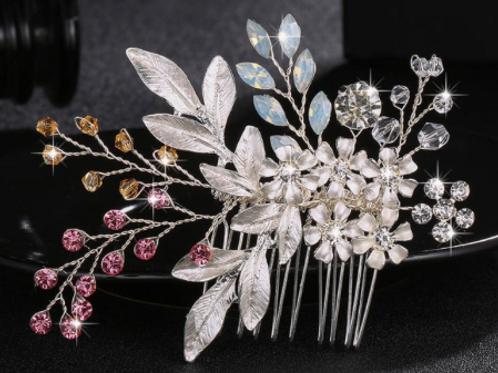Silver & Pink Flower, Rhinestone, & Crystal Hair Comb | Silver Bridal Jewelry