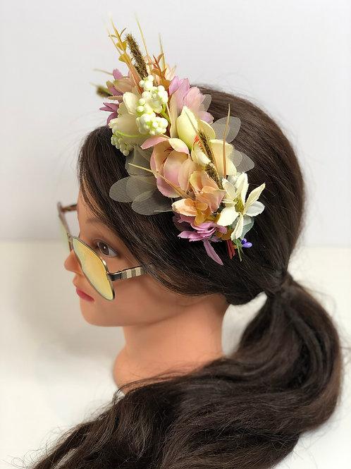 Floral Garland Crown Hair Wreath, Flower Headband, Boho Headband, Fairy Hairpiec