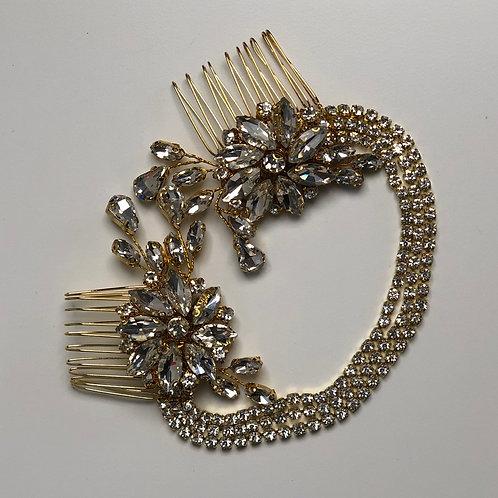 Gold Rhinestone Flower Chain Headband | Gold & Rhinestone Hair Chain Jewelry
