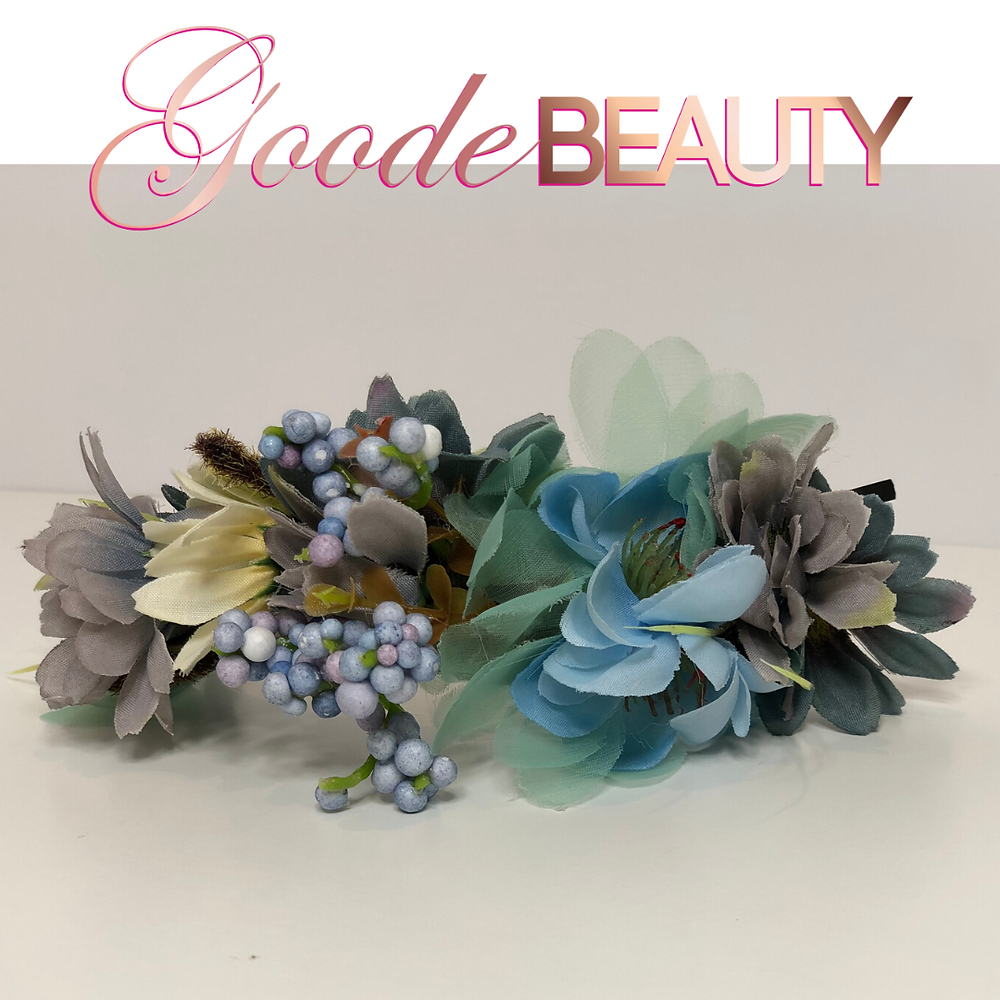 Lavender and Light Blue Flower Halo, Bridal Flower Headband, Fairy Flower Hair Band