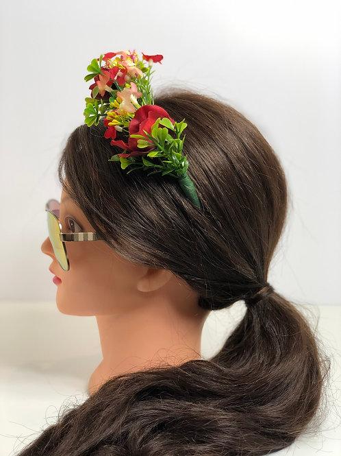 Red & Pink Floral Garland Crown Hair Wreath, Flower Headband, Boho