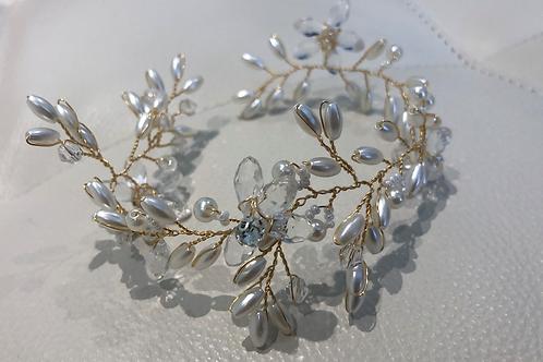 Gold, Crystal Flower & Pearl Chain Headband | Gold & Crystal Hair Vine