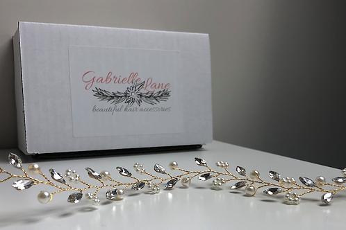 Gold Bohemian Headband | Gold, Pearl & Rhinestone Hair Vine | Wedding Hair Jewel