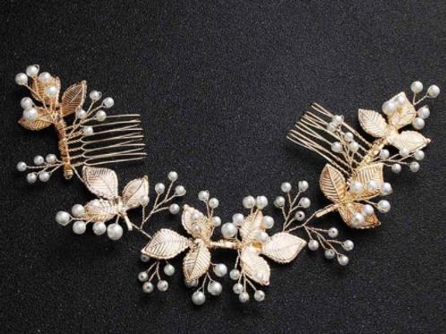 Gold Leaf & Pearl Chain Headband | Detailed Gold Leaf & Pearl Hair Chain Jewelry