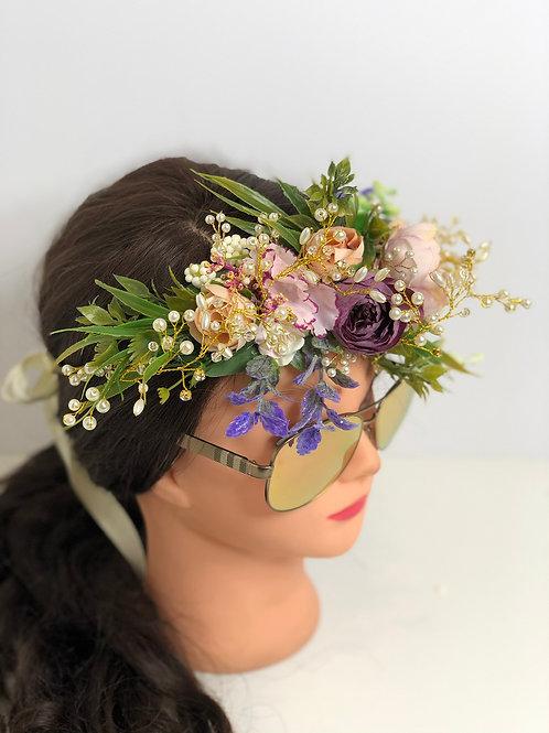 Flower Headband Wreath Crown, Bridal Halo, Bridesmaid Floral Halo