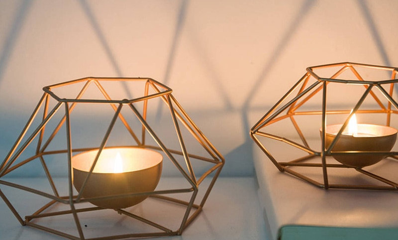 Geometric Iron Candle Holder Ornament Sconce