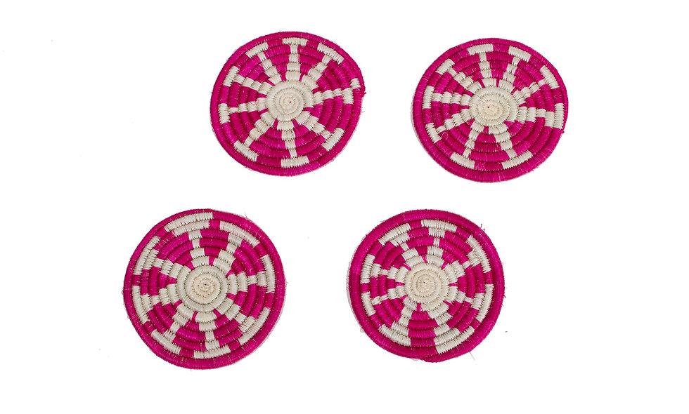 Vivid Viola Florian Coasters, Set of 4
