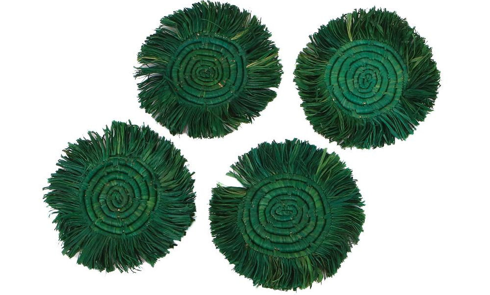 Evergreen Fringed Raffia Coasters, Set of 4