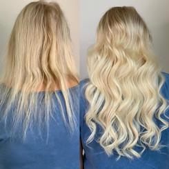 Vorher-Nachher Haarverlängerung