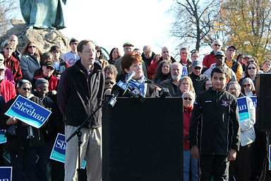 Then-City Treasurer Kathy Sheehan announcing her candidacy for Mayor of Albany in 2012.