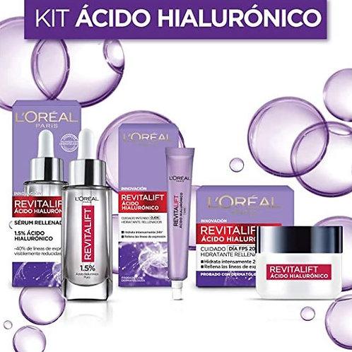 Kit Revitalift Ácido Hialurónico: sérum facial, crema día y crema de ojos.