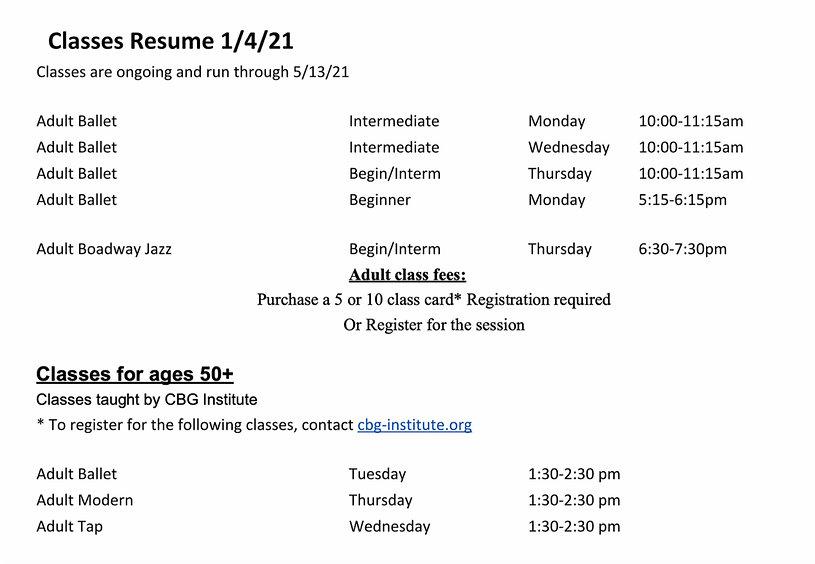 Adult 2020/21 Class Schedule