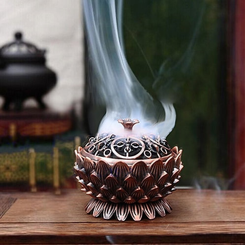 Lotus Shape Zinc-Copper Alloy Incense Burner Brass Mini Sandalwood Censer Holder