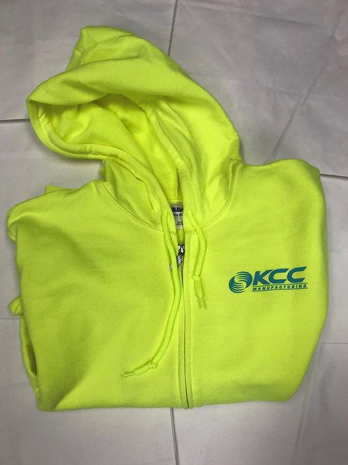 Neon Yellow Full Zip Hoodie