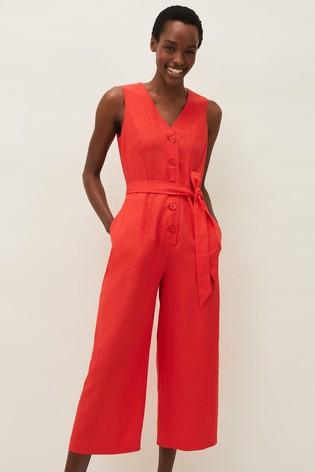 Ladies Red Linen Jumpsuit