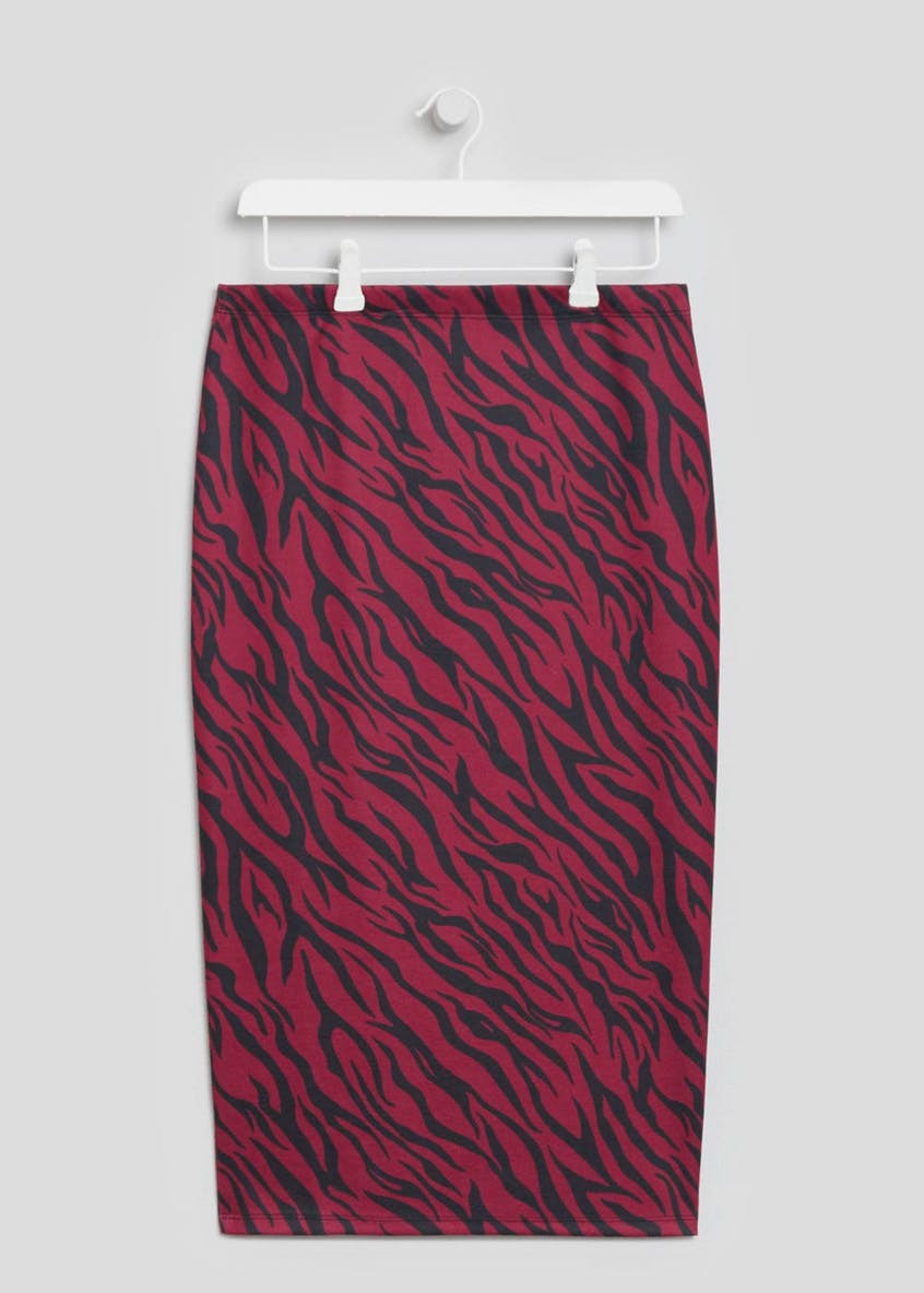 Matalan Red Tiger Stripe Pencil Skirt