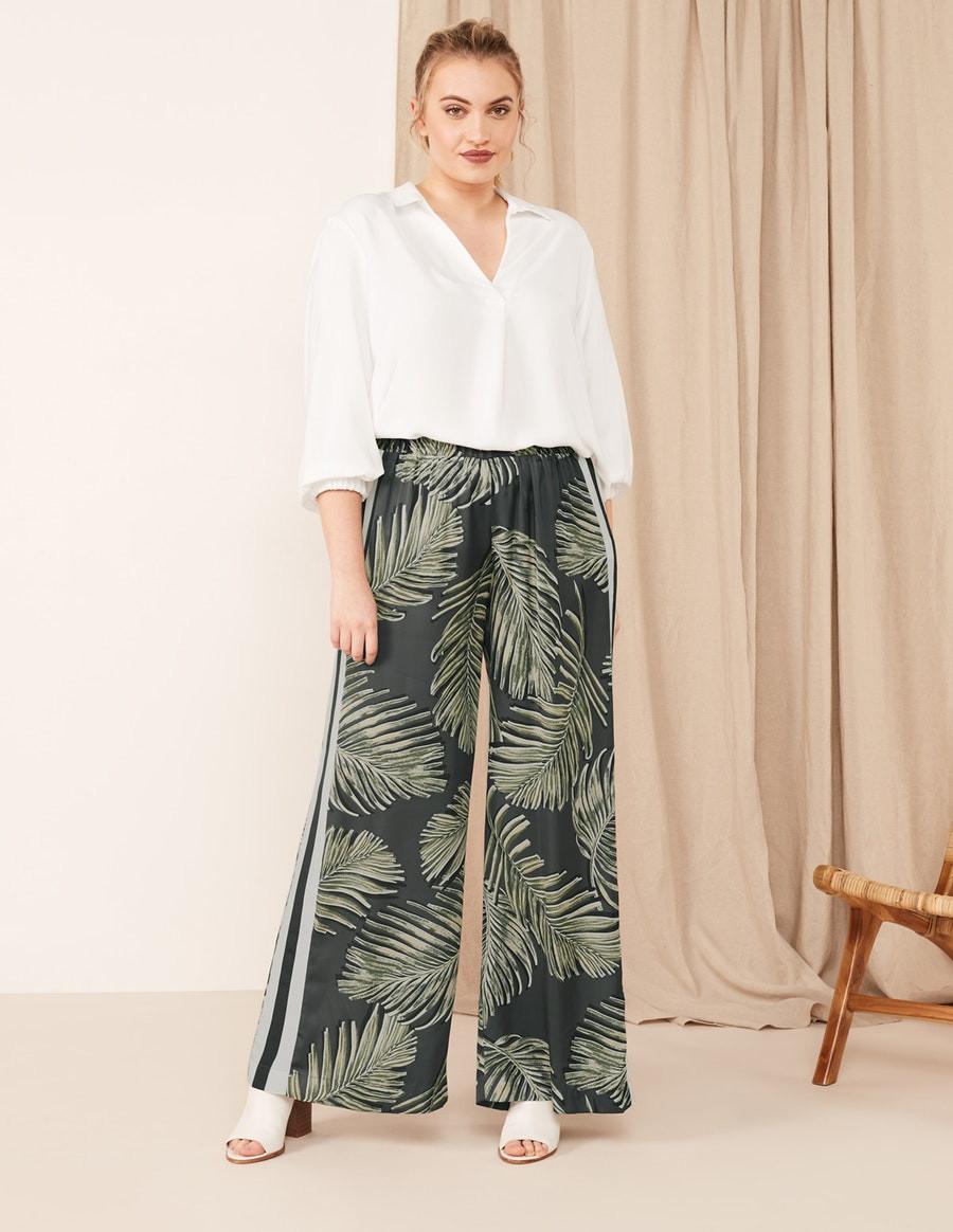 Navabi Wide Leg Fern Print Trousers