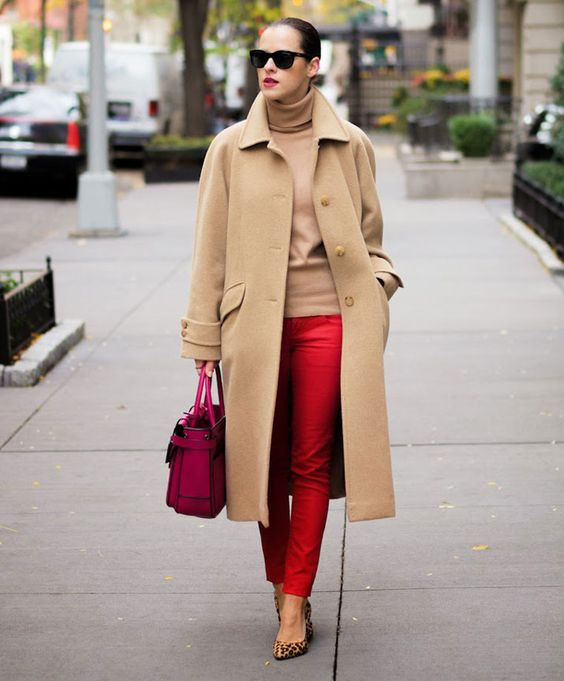 Camel and Red Outfit