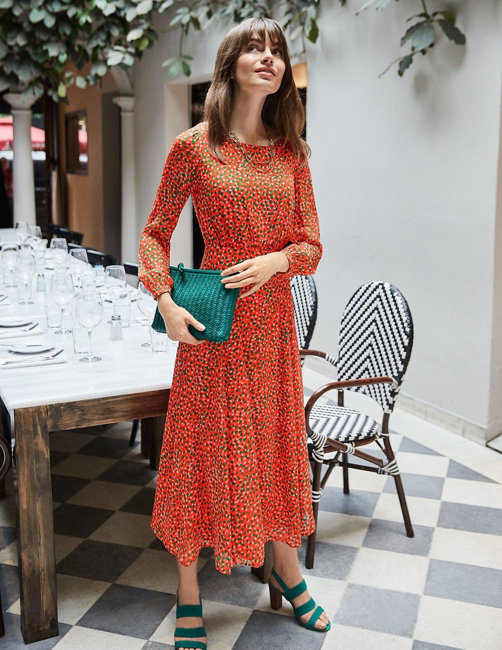 Orange Print Dress,my savvy fashion picks for autumn winter 2020, the image tree blog