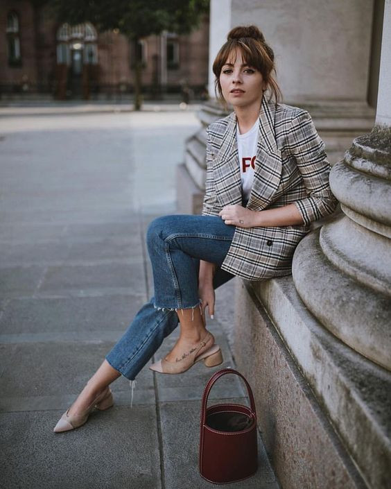 Block heels and jeans