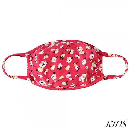 Kid's Red Floral Mask