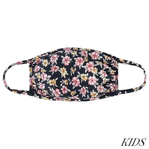 Kid's Black Floral Mask