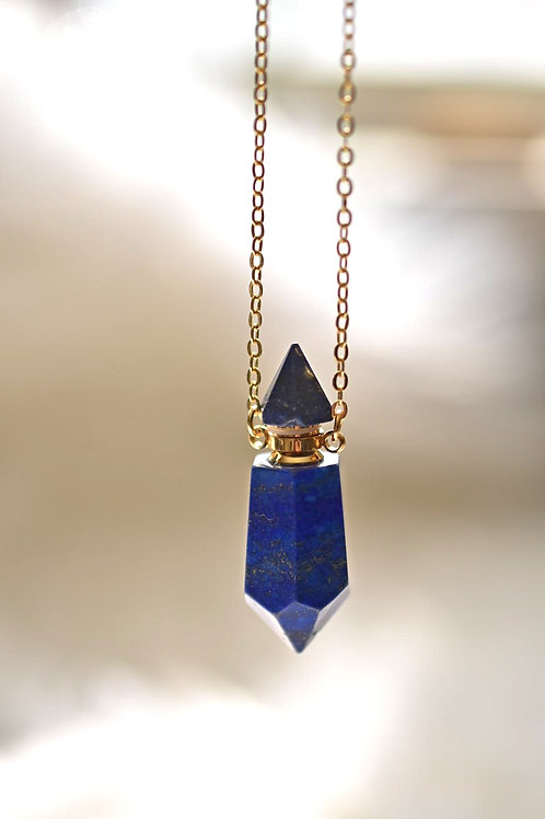 "Lapis Lazuli Point Diffuser Necklace 26""+2"" ext."