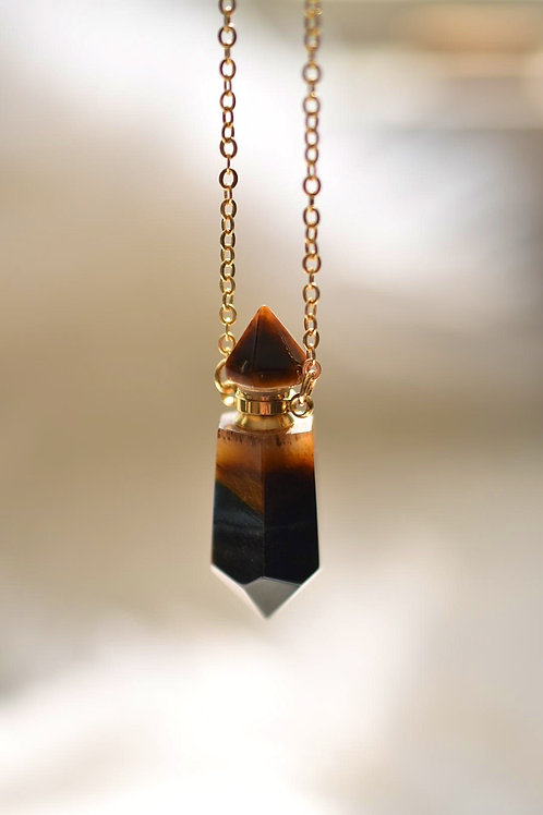 "Tiger's Eye Point Diffuser Necklace 26""+2"" ext."