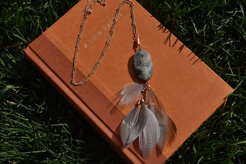 Labradorite Feather Necklace 30""