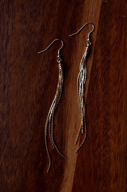 "4"" Gold tassel earrings"