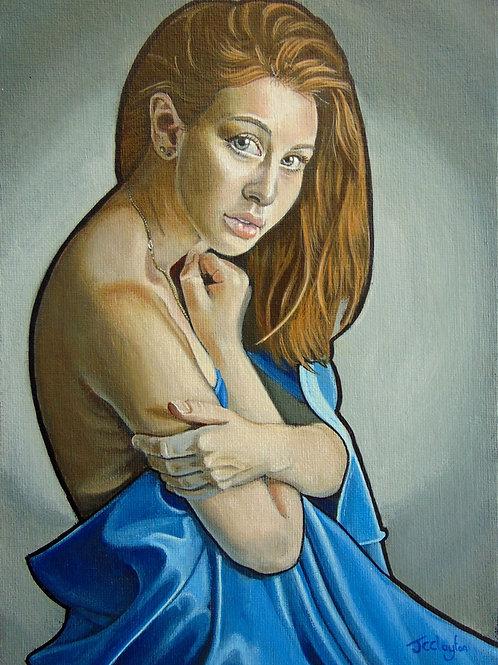 Girl In Blue Silk