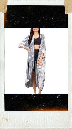 Grey & White Tie Dye Kimono
