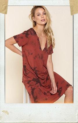 Burnt Brick Hand Dip Dye Dress
