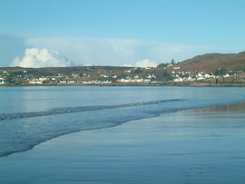 Gairloch village from the beach.  Book a self catering holiday in Gairloch, Highlands with Burnside Self Catering