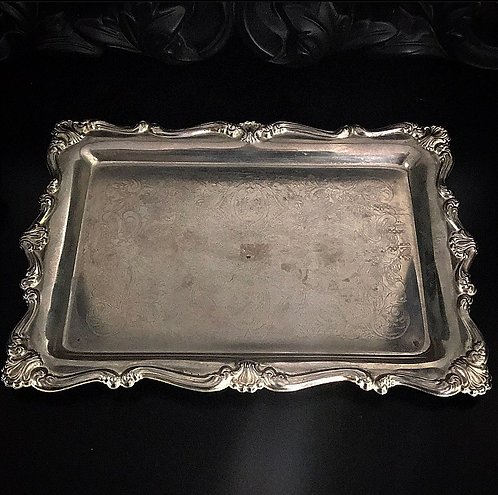 Silver Plated Rectangle Vintage Tray