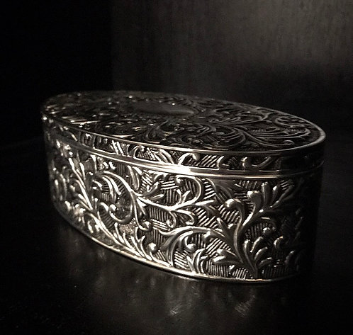 Silver Plated Large Oval Jewelery Box