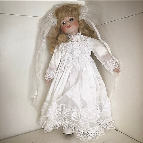 Porcelain Doll 'Crystal' in her Wedding Dress