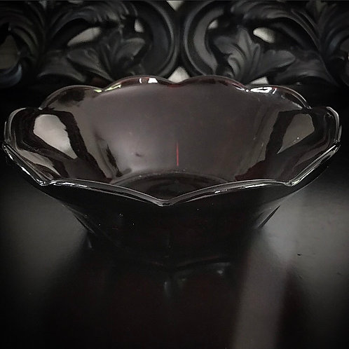 Dark Red Glass Salad Bowl