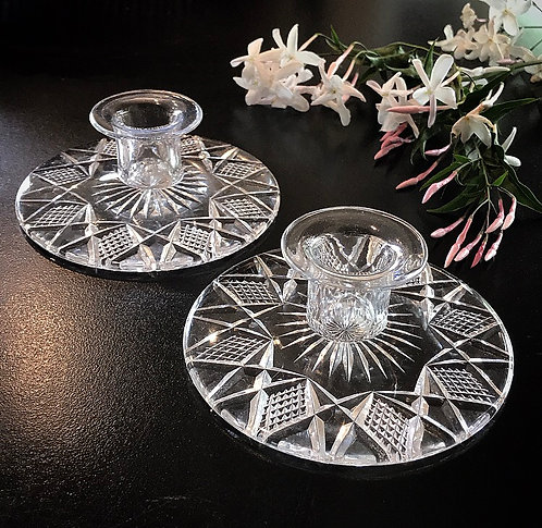 Pair of Crystal Lead Candle Holders