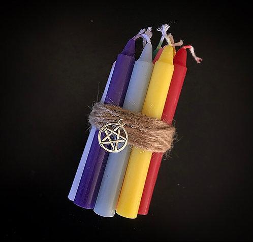 X10 Spell Candles Black, White & Rainbow