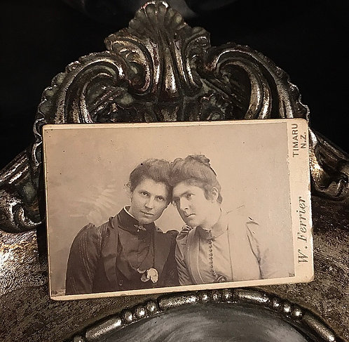 Victorian Ladies Tiny Card Photograph ~ Twins?