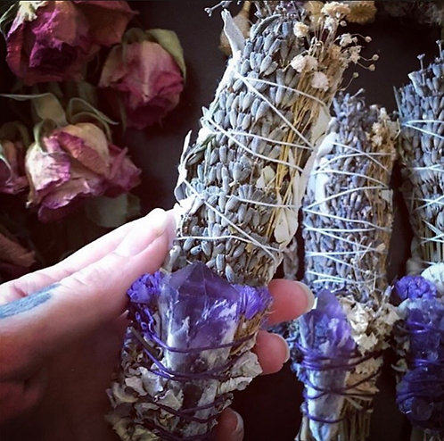 Lavender, White Sage & Amethyst for Cleansing