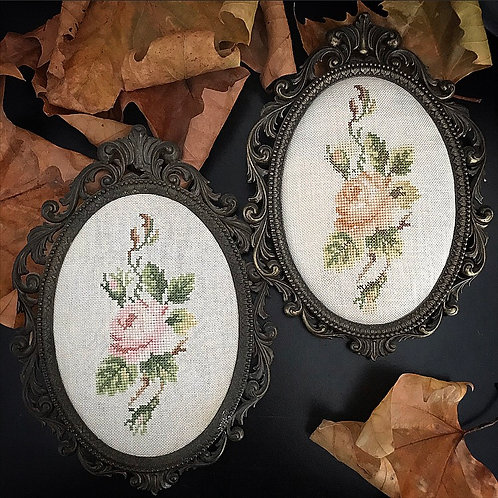 Large Brass Frame with Cross-stitch Rose