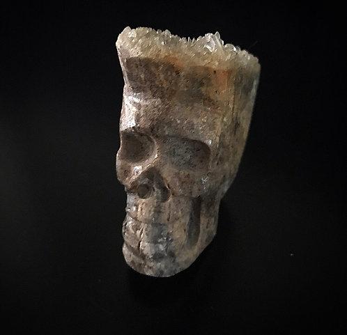 Skull Carved Rock with Quartz hair